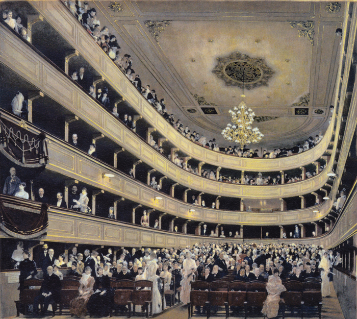 Gustav Klimt, Spectators in the Old Burgtheater, gauche on paper, 1888