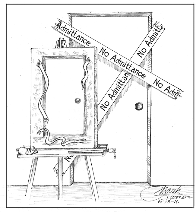 "Cartoon by Mark Turner: painting on easel of a door with ""no admittance"" taped over it. The painting shows tape broken."