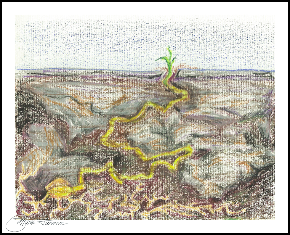 """The Journey Out"" oil pastel. Mark Turner, 3/22/17"