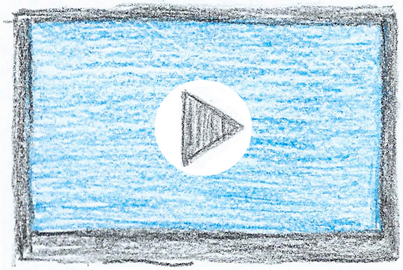 drawing of computer screen with video play button displayed