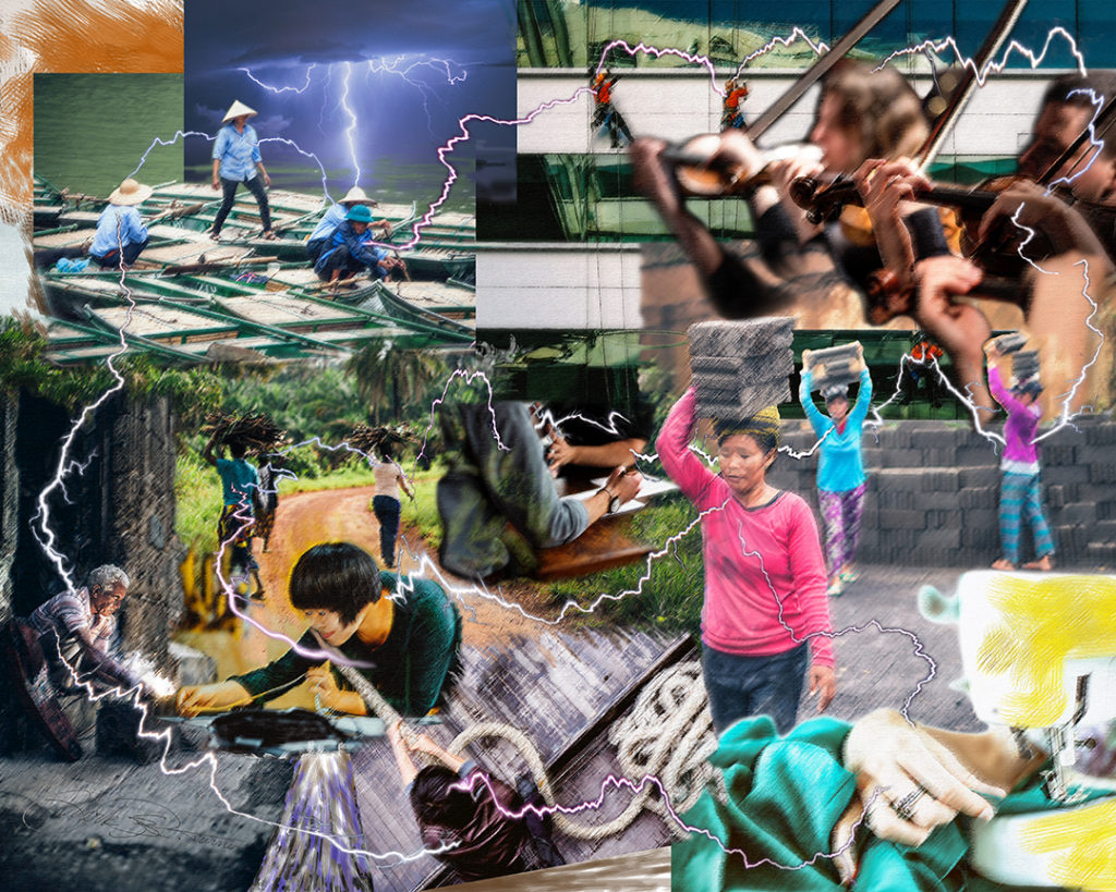 """Prayer Life Networking"" by Mark R. Turner, digital collage of people working around the world"